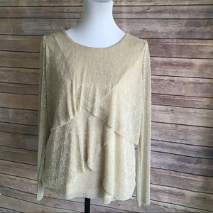 Chico's Shimmery Gold Layered Top